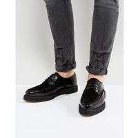 lace up shoes in black leather with creeper sole - black, Asos
