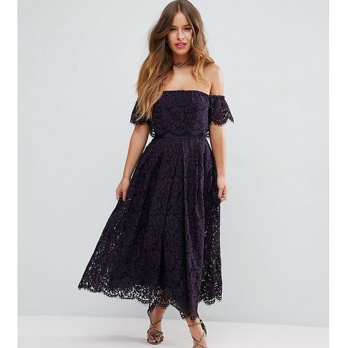 Asos petite off the shoulder lace prom midi dress - navy