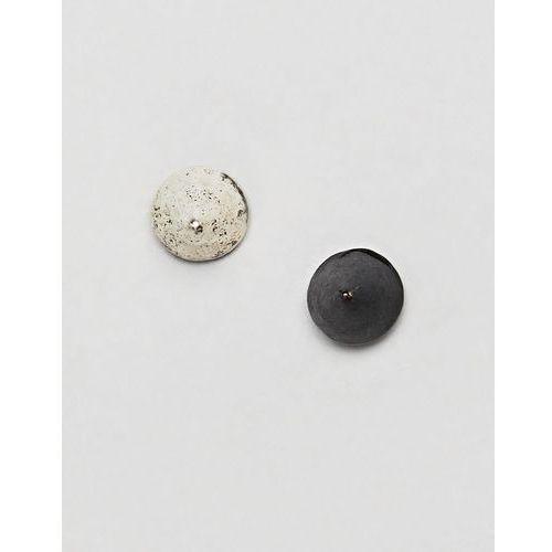 silver & matte black spike stud earrings in 2 pack - black marki Classics 77