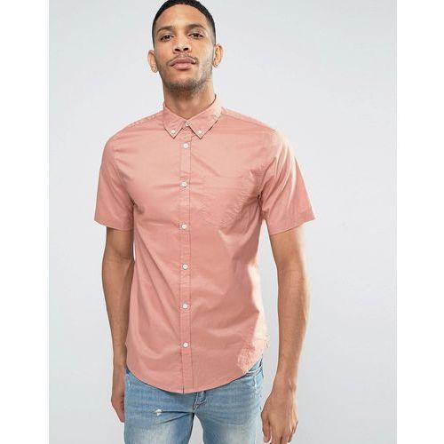 New Look Regular Fit Poplin Shirt With Short Sleeves In Pink - Pink z kategorii Pozostała moda i styl