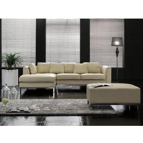 Sofa narożna p - skórzana - beżowa - sofa z pufą - kanapa oslo marki Beliani