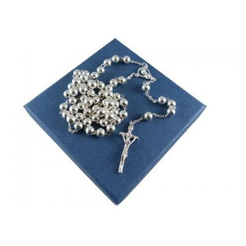 Różaniec srebrny na chrzest lub komunię - DUŻY, RO-001