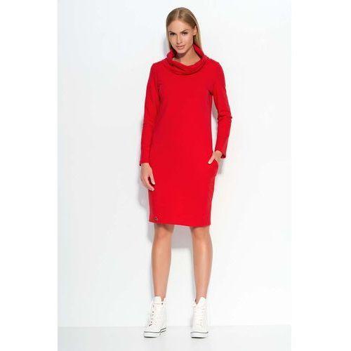 Czerwona Sukienka Dresowa z Wywijanym Golfem, DM331re
