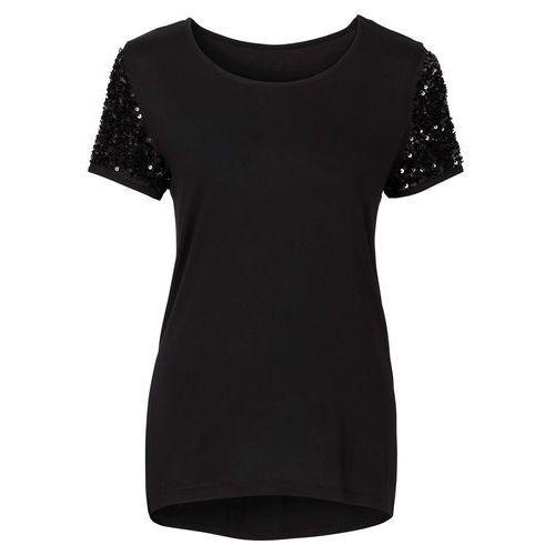Shirt z cekinami  czarny marki Bonprix