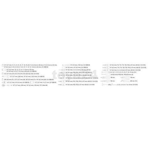 """Yato Zestaw narzędziowy 1/4"""", 1/2"""" kpl 122 szt yt-38901 - zyskaj rabat 30 zł (5906083389016)"""