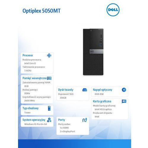 Optiplex 5050MT Win10Pro i5-7500T/256GB SSD/8GB/DVDRW/HD630/MS116/KB216/3Y NBD, N040O5050MT02