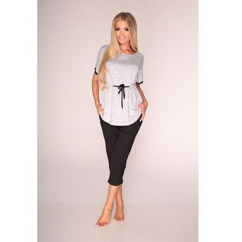 Piżama De Lafense 316 Jacqueline kr/r 3XL-4XL 3XL, szary melange, De Lafense, 32926803160606600