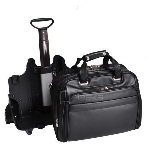"""McKlein Midway skórzana torba z dopinanym stelażem na kółkach na laptopa 17"""" - czarny, kolor czarny"""