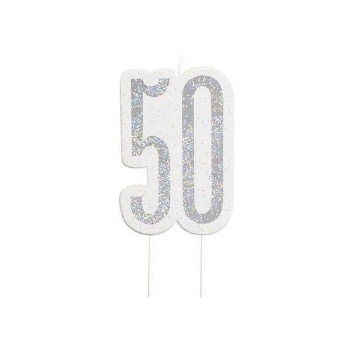 Brokatowa srebrna świeczka na 50-tke - 1 szt. marki Unique