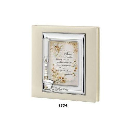 Album na zdjęcia z białej skóry Pamiątka Chrztu - (v#1334)