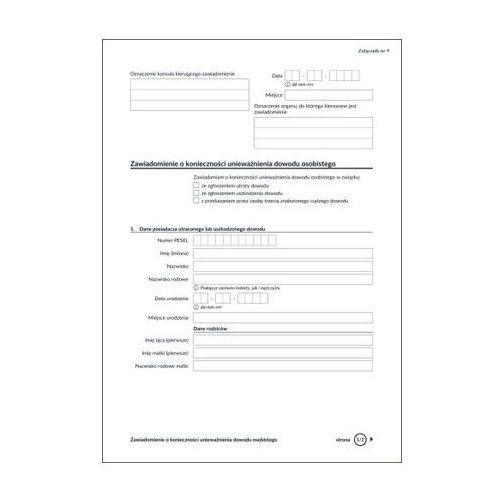 Zawiadomienie o konieczności unieważnienia dowodu osobistego [zał nr 9] (5907510477146)