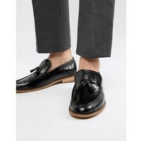 leather loafers with tassels in patent black - black, River island