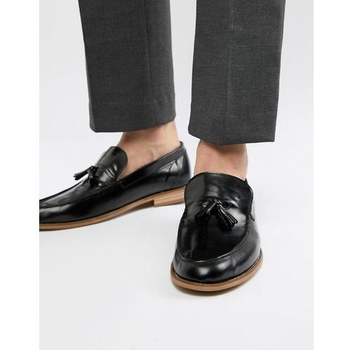 River island leather loafers with tassels in patent black - black