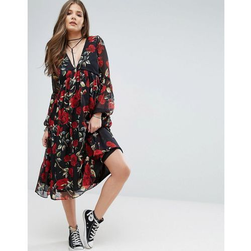 Boohoo Floral Smock Midi Dress - Black, kolor czarny