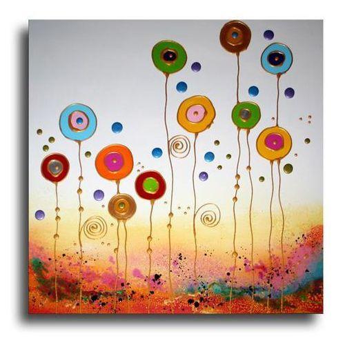 """obrazy nowoczesne """"kolorowe dmuchawce"""" ręcznie malowane w technice strukturalnej na podkładach 3D 60x60cm"""