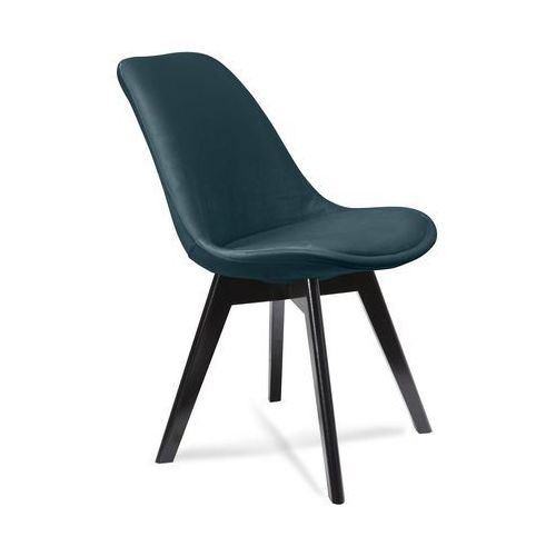 Krzesło HUGO aksamit zielone (nogi czarne) - zielony