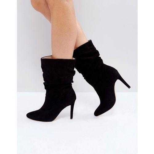 rouched low height stiletto boot - black marki London rebel