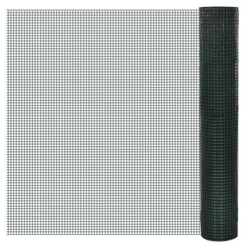vidaXL Siatka ogrodzeniowa ocynkowana z tworzywa PCV 1m x 25m oczko 25x25mm