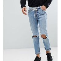 Cheap Monday TALL Sonic Slim Jeans with Blown Out Knee - Blue