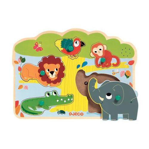 Djeco Puzzle drewniane z dźwiękiem - zoo dj01708