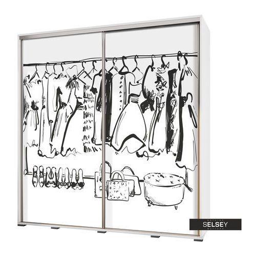 Selsey szafa przesuwna wenecja 205 cm rysunkowa garderoba (5900000071947)