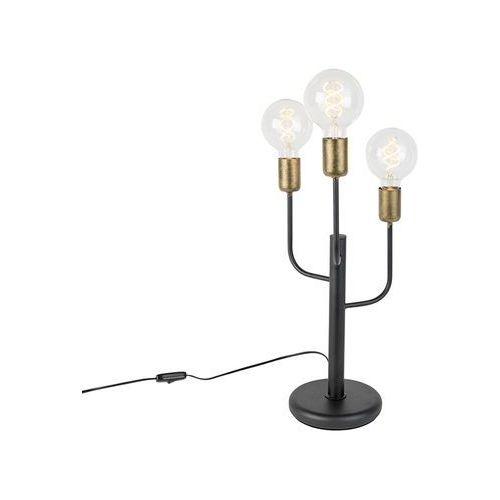 Nowoczesna lampa stolowa czarna ze zlotymi koncówkami 3 zródla swiatla - facile marki Qazqa