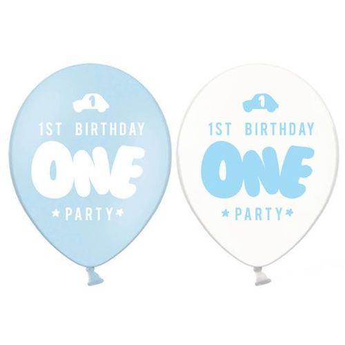 Balony z nadrukiem dla chłopca 1st Birthday One Party - 30 cm - 50 szt.