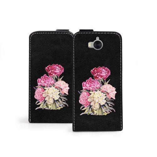 Huawei Y5 (2017) - etui na telefon Flip Fantastic - różowy bukiet, kolor różowy