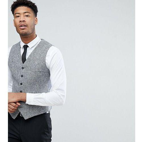 tall skinny waistcoat in herringbone tweed - brown, Heart & dagger