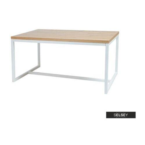 stół pazmer 150x90 cm z litego drewna z białą podstawą z poziomym wzmocnieniem marki Selsey