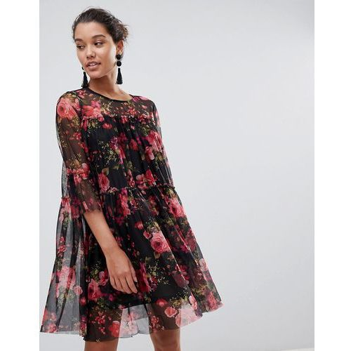 QED London Floral Printed Mesh Dress - Black, 1 rozmiar