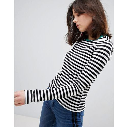 contrast neck stripe long sleeve tee - black marki Stradivarius