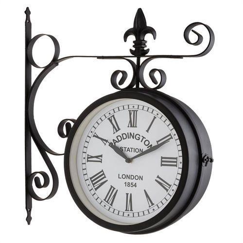 Blumfeldt paddington zegar ścienny zegar dworcowy zegar ogrodowy 41x45x11cm vintage czarny