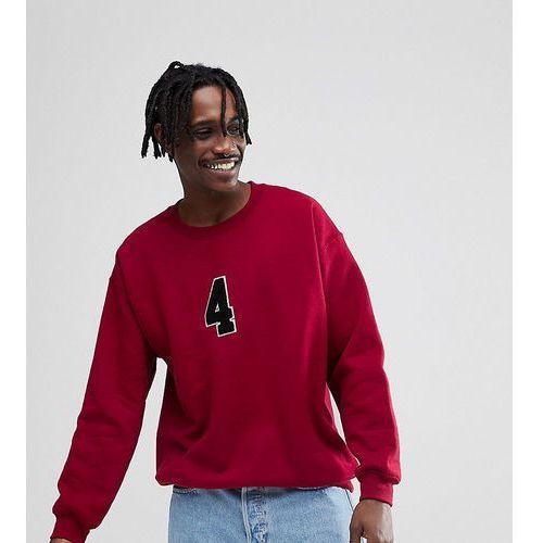 Reclaimed Vintage Inspired Oversized Varsity Sweatshirt In Burgundy - Red, kolor czerwony