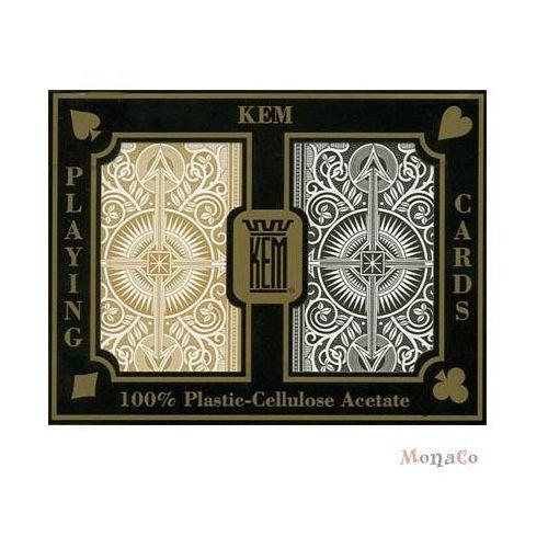 Kem - uspc - u.s. playing card Karty kem brydżowe jumbo - czarno-złote - 100% plastik uspcc karty kem brydżowe jumbo - czarno-złote - 100% plastik uspcc