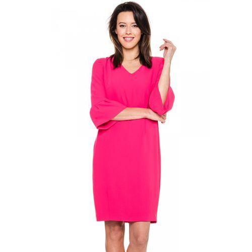 Różowa sukienka z ozdobnym rękawkiem - Vito Vergelis