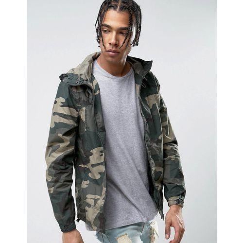 zip through hooded jacket in khaki camo - green, Pull&bear