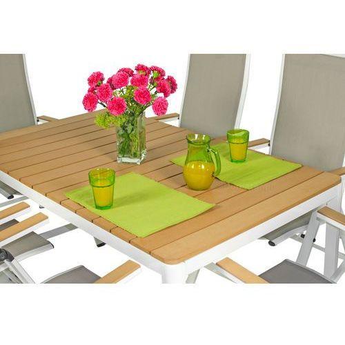 Meble ogrodowe aluminiowe verona legno stół i 6 krzeseł - białe - deski polywood marki Edomator.pl