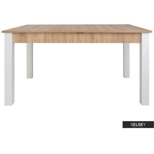 stół rozkładany eagor 140-190x84 cm dąb sonoma - biały marki Selsey