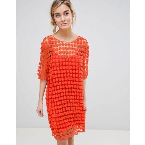 shift dress in floral crochet - orange, See u soon