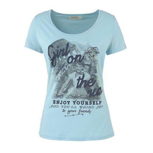 T-shirt z nadrukiem, krótki rękaw jasnoniebieski z nadrukiem marki Bonprix