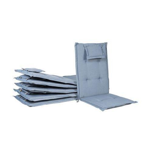 Beliani zestaw 6 poduszek na krzesła ogrodowe niebieskie toscana (4251682225298)