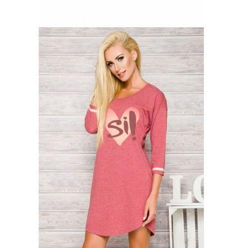 Koszula Nocna Model Hana 2117 AW/17 K2 Dark Pink, kolor różowy