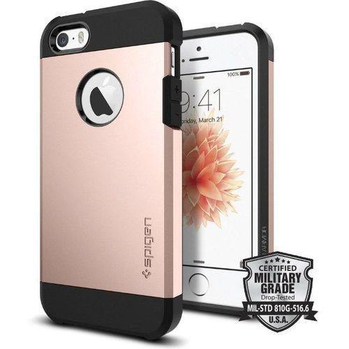tough armor różowy | pancerna obudowa dedykowana dla modelu apple iphone 5 / 5s / se - różowy marki Sgp - spigen