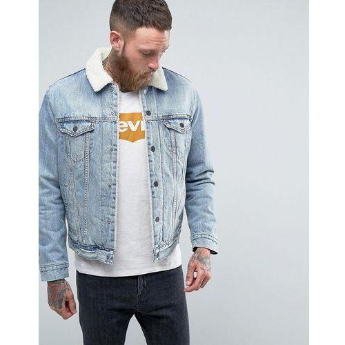 type 3 borg jacket fine line bleach wash - blue, Levis