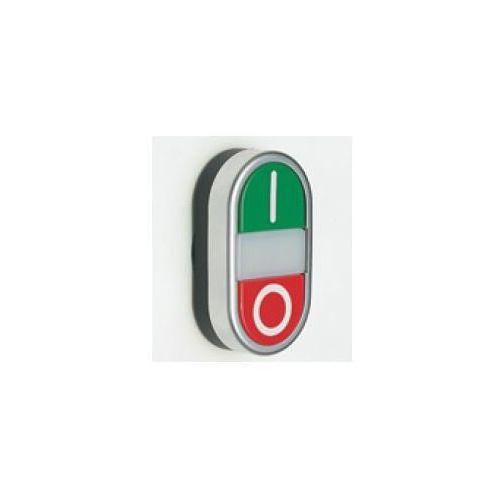 Przycisk podwójny chromowany wystający podświetlany, zielony I, czerwony O PPDLCL