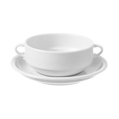 Fine dine Bulionówka z uszami porcelanowa bianco