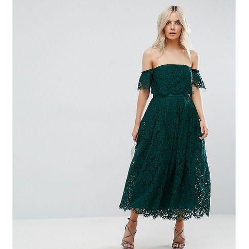 off the shoulder lace prom midi dress - green marki Asos petite
