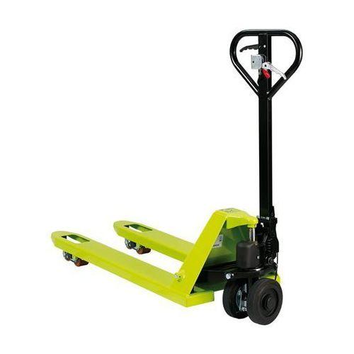 Paletowy wózek podnośny, z hamulcem, rolki skrętne z ogumieniem pełnym, dł. wide marki Pramac