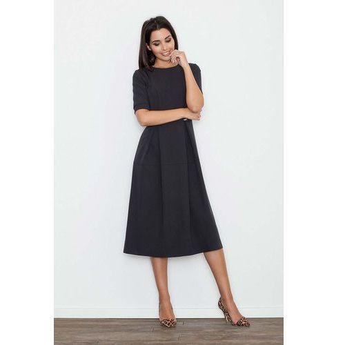 Czarna sukienka elegancka wizytowa midi, Figl, 36-42